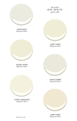 Examples of white values from Benjamin Moore
